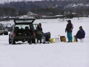 ice fishing w car