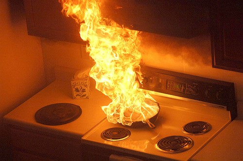flaming-pan-on-stove