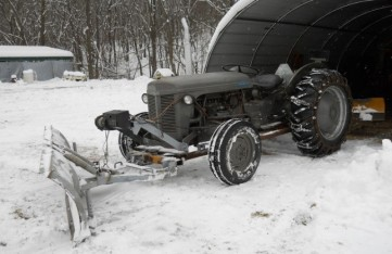 old tractor and plow