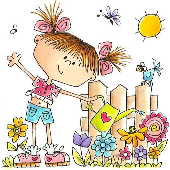 happy gardening cartoon