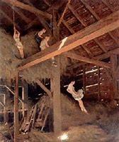 kids in hay barn